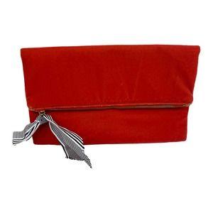 J. Crew Red Velvet Ribbon Trim Foldover ClutchEUC